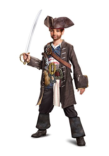 Disney POTC5 Captain Jack Sparrow Prestige Costume,  Multicolor,  Small (4-6) - Childrens Pirate Boots