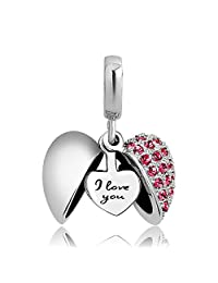 LovelyJewelry I Love You Heart Dangle Charms Bead for Charms Bracelet