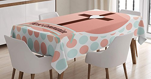 Linen Table Cover Communion - LEO BON Rectangle Table Cover First Communion Design Heart Shape Pattern Dotted Background Ornamental Illustration Cotton Linen Table Cover for Kitchen Dinning Tabletop Decoration 60X90inch