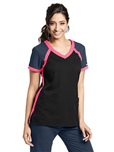 Grey's Anatomy Active 41435 Color Block V-Neck Top Black/Steel/Pink Pop M (Gray And Pink Scrub Tops)