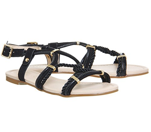 Black Strappy Serengeti Hardware Office Sandals Detail Gold Metal tvPwX