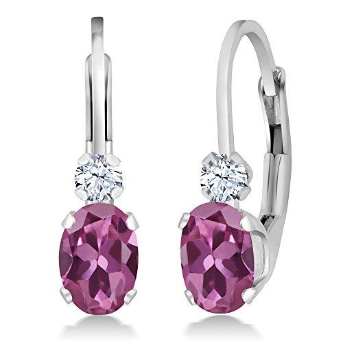 Oval Pink Sapphire Earrings - 7