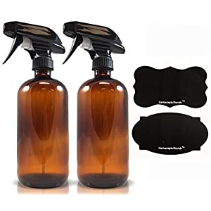Amber Spray Bottles 16oz with Reusable Chalk Labels (2 Pack), Heavy Duty Mist and Stream Sprayer