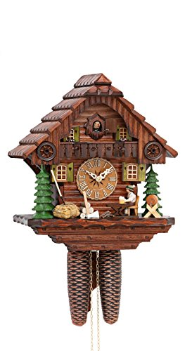 Mantle Cuckoo Clock - Cuckoo Clock Black Forest house with moving beer drinker KA 879