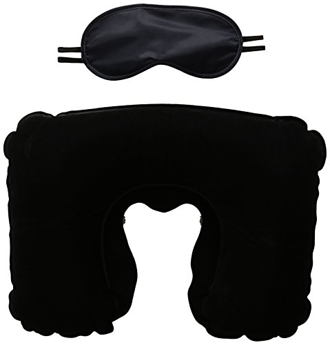 Price comparison product image Adir Direct Travel Neck Pillow Hoodie With Hood, Eye Mask, and Ear Buds (Black Color)