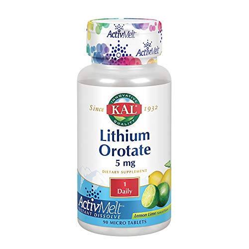 Kal 5 Mg Lithium Orotate Tablets, Lemon Lime, 90 Count