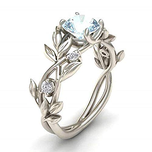 Jaywine2 Noble Women 925 Silver Floral Ring Transparent Aquamarine Wedding Jewelry Sz6-10 (7)