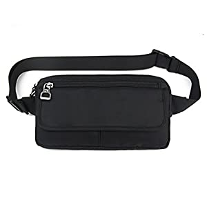 Ultraslim Nylon Waterproof Stealth Small Running Travel Waist Bag Packs (Black)