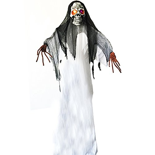 10 Feet 3 meter Giant Spooky Hanging Ghost with Light up Eyes for Halloween (Jello Eyeballs For Halloween)