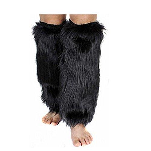 Leopard Fausse Chaud Cover Plus Boot Jambière En Fourrure Noir De Femmes Confortable Cuff RqtRdZwFYx
