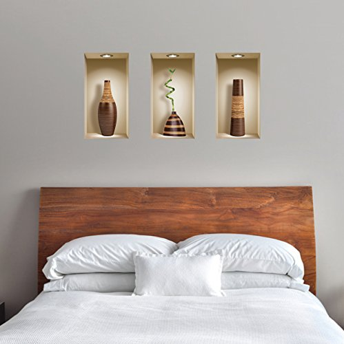 The Nisha Art Magic 3D Vinyl Removable Wall Sticker Decals DIY, Set of 3, Brown Vases by the Nisha (Image #8)