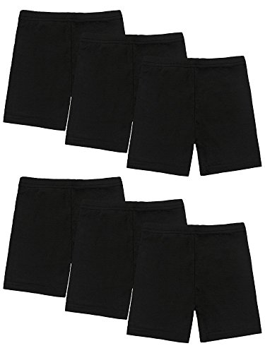 Resinta 6 Pack Black Dance Shorts Girls Bike Short Breathable and Safety 6 Color (6T/7T, Black)