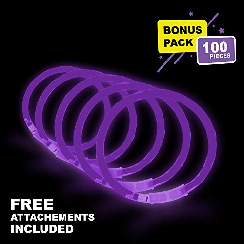 Lumistick 10 Inch Glow Stick Bracelets | Non-Toxic & Kids Safe Light Up Neon Handwear | Party Pack Bendable Light Sticks with Connectors | Glows in The Dark Chem Lights (Purple, 100 Glow Sticks)]()