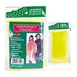 4 PACK EMERGENCY GOTTA HAVE IT! HOODED RAIN PONCHO -YELLOW