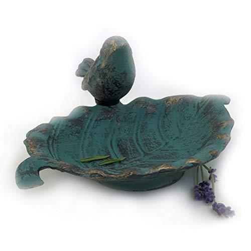 Small Garden Dish - Whole House Worlds The Country-Style Outdoor Garden Bird Bath, Leaf Dish with Bird, Cast Iron, Rustic Green Blue Patina, Artfully Detailed, Footed Base, 7 L x 6 W x 3 H inches, by WHW