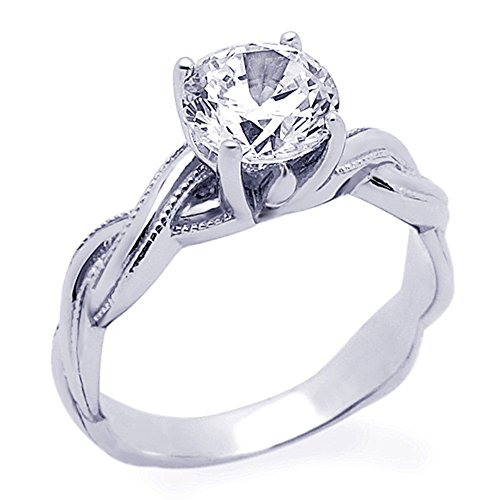 Rhodium Plated Sterling Silver 1.2 ctw Round CZ Twisted Miligrain Edge Solitaire Ring ( Size 5 to 9 (Silver Plated Twisted Ring)