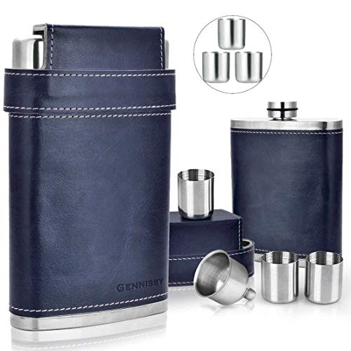 GENNISSY 18/8 Stainless Steel 8oz Flask - Americal Flag Black Leather with 3 Cups and Funnel Leak Proof(Navy Blue) …