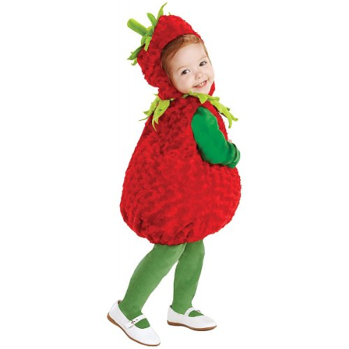 Toddler Sweet Red Hood Girls Costumes (Underwraps Baby's Strawberry Belly, Red/Green, Medium)