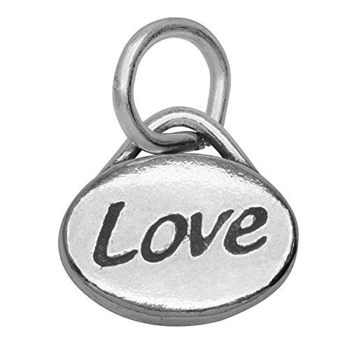 Beadaholique Pewter Message Charm Love, 11mm by