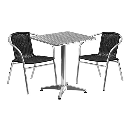 MFO 23.5'' Square Aluminum Indoor-Outdoor Table with 2 Black Rattan Chairs