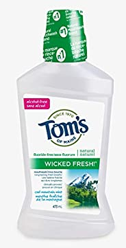 Tom's of Maine Wicked Fresh Cool Mountain Mint Natural Fluoride Free Mouthwash, 473 ml (Pack o