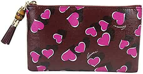 170d5ab865e Gucci Bamboo Burgundy Leather Heartbeat Pouch With Detail Clutch Bag 338816  5009
