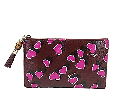 3831a4510 Amazon.com: Gucci Bamboo Burgundy Leather Heartbeat Pouch With Detail  Clutch Bag 338816 5009: Shoes