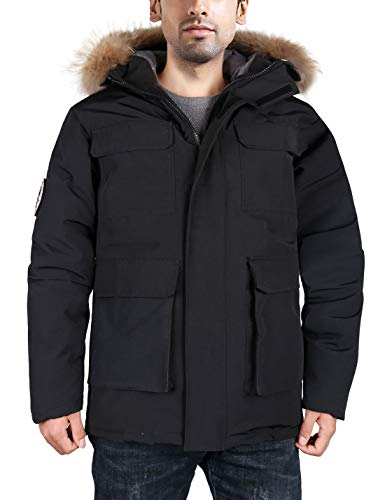 HARD LAND Men's Goose Down Parka Winter Coats Expedition Jacket Waterproof Warmest Outerwear with Real Fur Hood Black Size XXXL