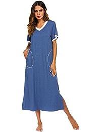 9adfd871ca Loungewear Long Nightgown Women s Ultra-Soft Nightshirt Full Length  Sleepwear with Pocket