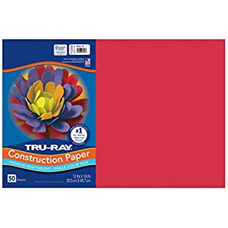 PACON Tru-Ray Sulphite Construction Paper, 12 x 18 Inches, Red, 50 Sheets (102994)