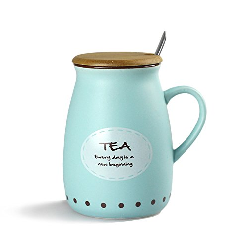 MyLifeUNIT Positive Quote Ceramic Tea Mug with Bamboo Lid (Blue) (Positive Quote Mugs compare prices)