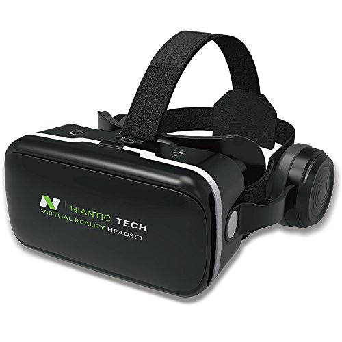 VR Headset - Virtual Reality Headset with Headphones | VR Headset for iPhone and Android | VR Goggles | VR Apps | VR Games | VR Movies | 2018 Version by Niantic Tech NTVR-G04E