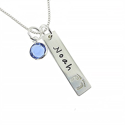 Personalized Sterling Silver Jewelry Box (Wisdoy Personalized 925 Sterling Silver Name Necklace with Birthstone for New Mom Custom Baby/Kids/Child Name,Engraved with Solid Baby Feet Pendants Box chain)