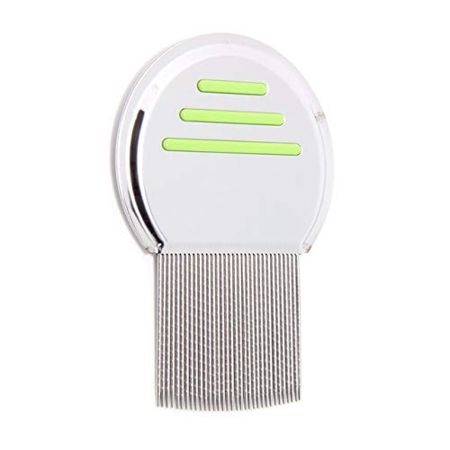 QYCL Terminator Lice Comb Nit Free Kids Hair Rid Headlice Stainless Steel Metal Teeth Remove Nit Brush Pet Supply,Green by QYCL