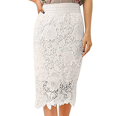 Lookatool Skirts, Women Fashion Elastic Lace Knee-Length High Waist Party Skirt