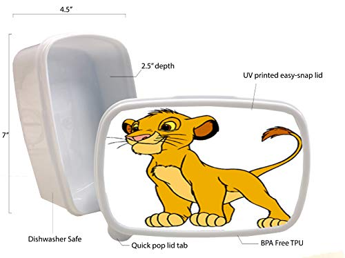 Cartoon Lion Cub Film Character Printed White Plastic Lunch Box Food Dry Storage Container Stash