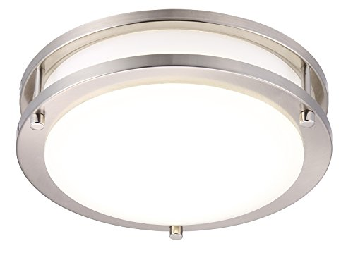 Cloudy Bay LED Flush Mount Ceiling Light,10 inch,17W(120W Equivalent) Dimmable 1150lm,4000K Cool White,Brushed Nickel Round Lighting Fixture for Kitchen,Hallway,Bathroom,Stairwell ()