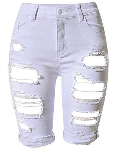 (OLRAIN Womens High Waist Ripped Hole Washed Distressed Short Jeans 12 White)