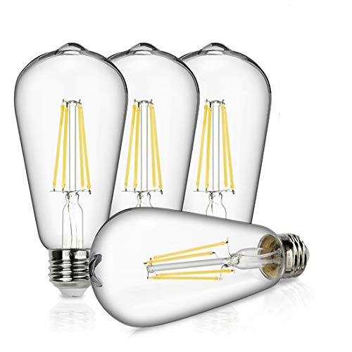 Vintage LED Edison Bulb, 8W Dimmable Filament Light Bulb, ST64 940 Lumen Daylight 5000K, 75W-100W Incandescent Equivalent,E26 Medium Base Squirrel Cage Antique Lamp, Pack of 4 ()