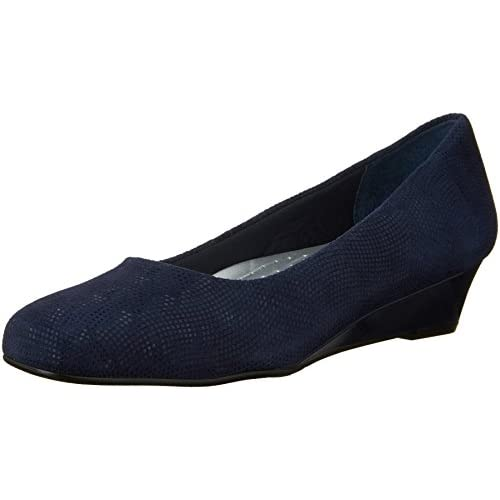 Trotters Women's Lauren Dress Wedge, Navy Suede, 7.5 W US