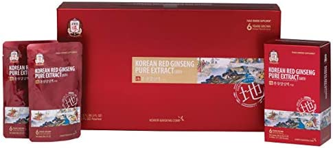 KGC Cheong Kwan Jang Korean Red Ginseng Pure Extract Earth 100 6-Year-Old Korean Red Ginseng Roots with Premium Grade Ginseng, Immune System Support Booster – 90 mL Pouch 30 Count