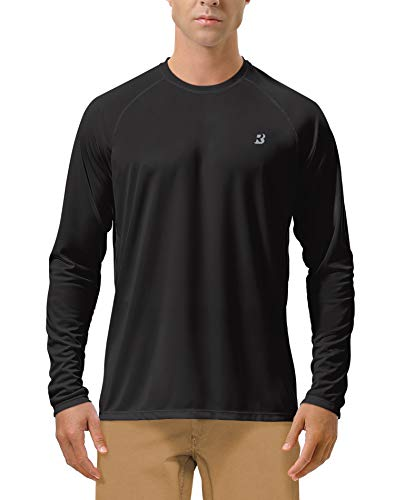 Roadbox Men's Sun Protection UPF 50+ UV Outdoor Long Sleeve Dri-fit T-Shirt Rashguard for Running, Fishing, Hiking(2XL, Black)
