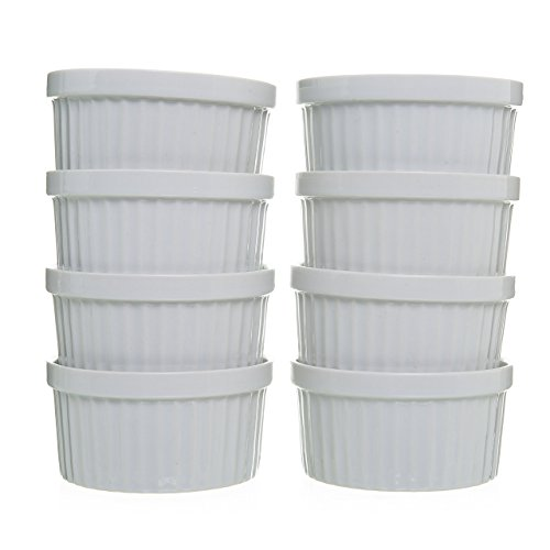 8-Piece 4 oz Porcelain Ramekins Bakeware Set, White Porcelain Baking Cups for Pudding, Creme Brulee, Custard Cups and Souffle Dishes, Durable 4 ounce Ramekins for Baking, Cooking, Serving and More by California Home Goods (Image #7)