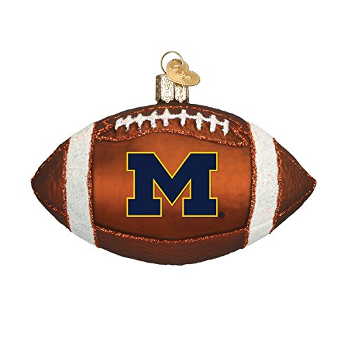(Old World Christmas Ornaments: Michigan Football Glass Blown Ornaments for Christmas Tree)