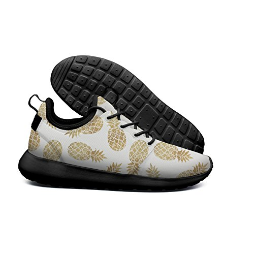 Gif Jogging Funny Color HASIDHDNAC White Shoes Work Women's Fruit Pineapples Trail Shoes Running Face Gray Golden XEdqUw