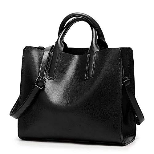 Eeayyygch Cuero Color Handle Viaje Bolsas Black Hombro Mujer Smooth Y0RTX