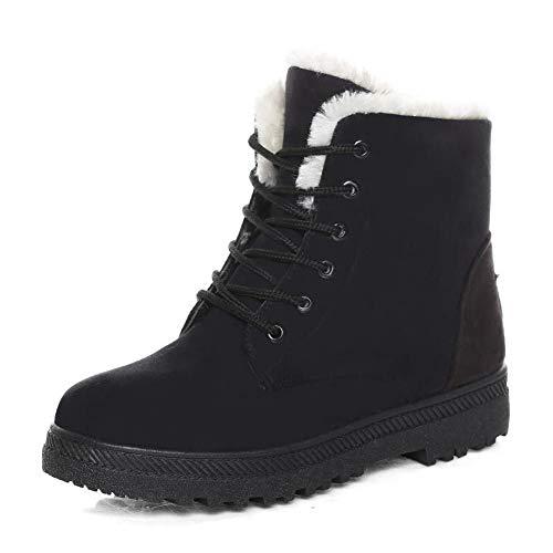 SHIBEVER Women Winter Warm Lace Up Cotton Snow Ankle Boots Flat Platform Sneaker Shoes Black ()
