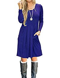 Women's Long Sleeve Pleated Loose Swing Casual Dress with...