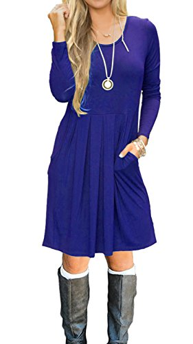 AUSELILY Women's Long Sleeve Pleated Loose Swing Casual Dress with Pockets Knee Length (S, Royal Blue) ()