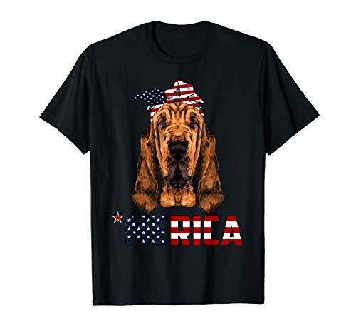 Bloodhound Dog TShirt Bandana Patriotic 4th July Gift -